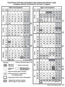Kalendar rada za srednju školu 2013