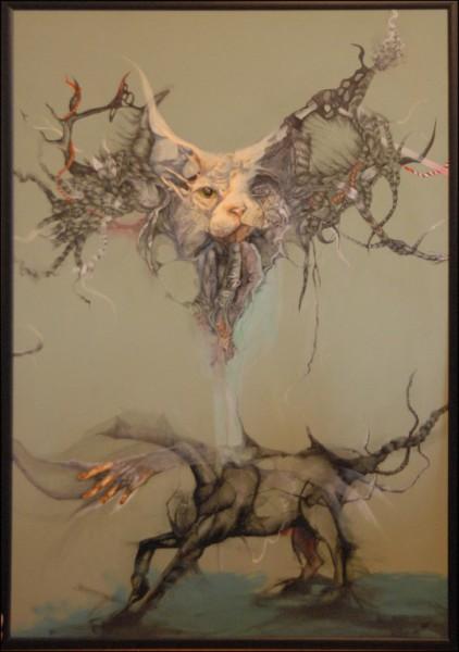 Страх, колаж, акрилл туш, 100 x 150