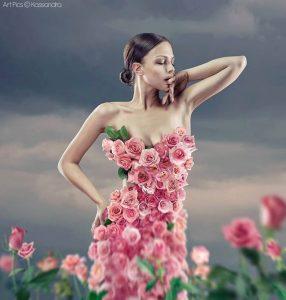 Šampanjac, žena, ruže, haljina