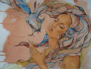 Nemušti jezik, žena, devojka, ptica