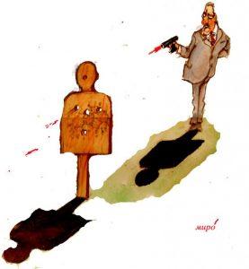 Miro, meta, pištolj, pucanj, karikatura
