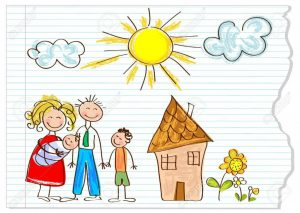 12826217-Children-drawing-happy-family-on-a-peace-of-paper-Stock-Vector-child