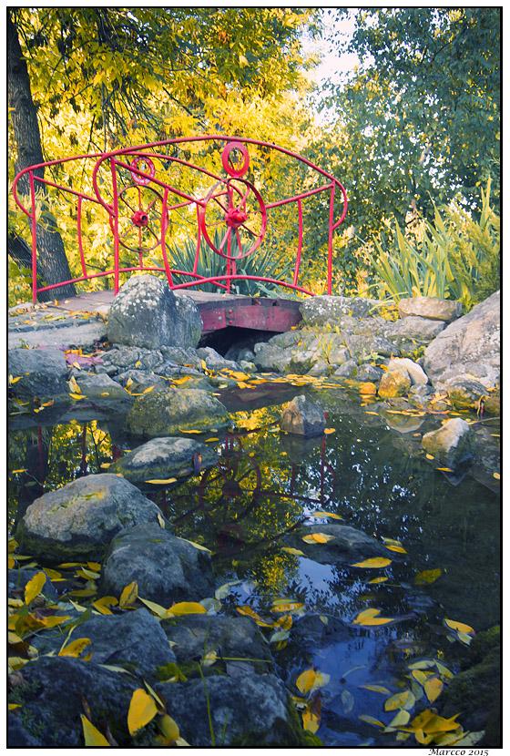 voda, mostić, jesen, listovi, kamenčići, priroda