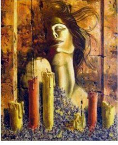 San majke Jelene, sveće, žena