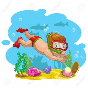 42514998-Little-boy-finds-a-shell-with-a-pearl-at-the-bottom-of-the-sea-vector-cartoon-illustration-Stock-Vector
