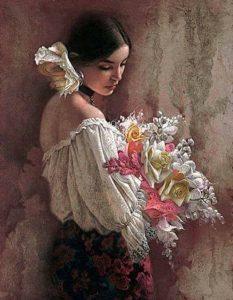 Ljubavni tren, devojka, cveće