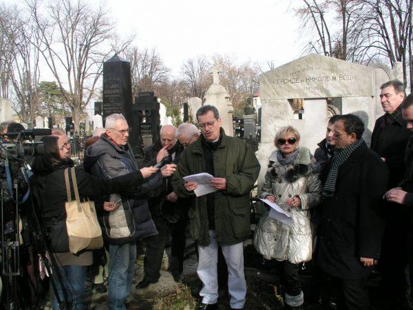 Miladin Ševarlić govori na parastosu Branislavu Nušiću,na Bogojavljenje 2012.